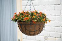 Virágtartó kosár függő,kerek szürke, 30 cm